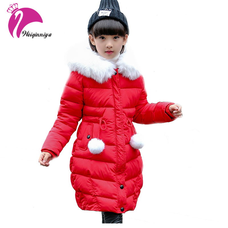 Winter Girls Down Jackets New Fashion Long Warm Fur Collar Hooded Thick Coat Children Parka Dwon Poacket Clothing Outerwears fur collar hooded girls duck down jackets children long patten coat kids thick warm snowsuit parka boys letter printed overcoat