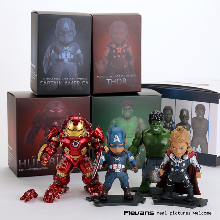 Avengers 2 Age of Ultron Light & Action Function Hulkbuster Thor Hulk Captain America PVC Action Figures Toys 4pcs/set new moive the avengers american captain hulkbuster hulk action figure cute version 12cm height toys collection models kids gift