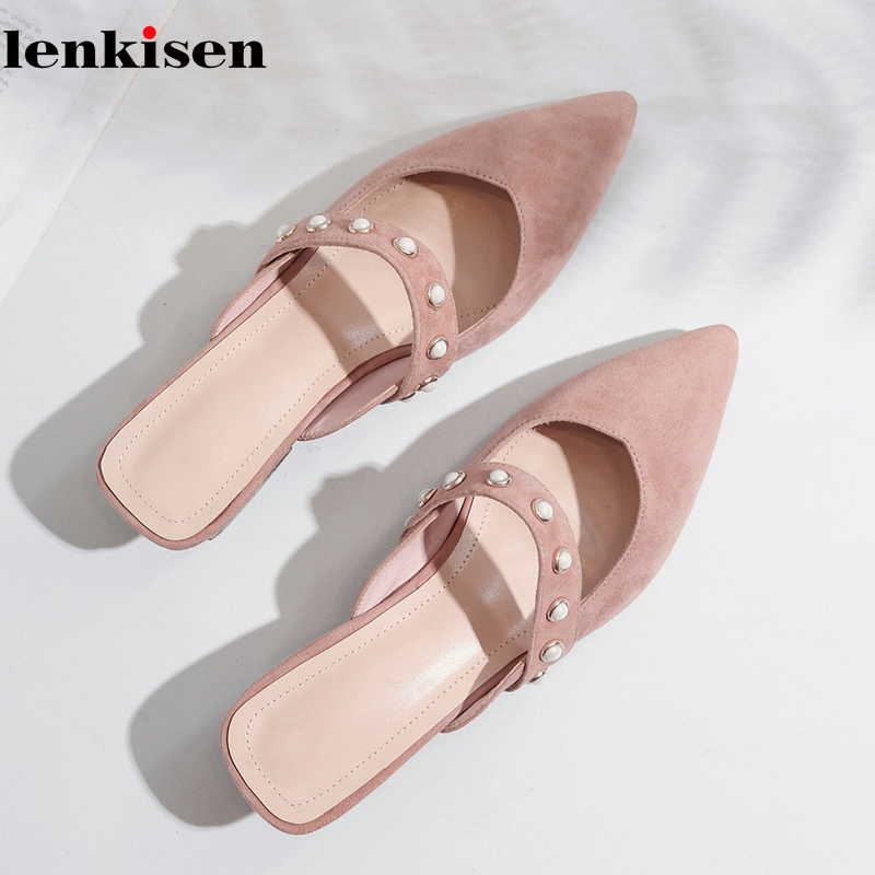 Lenkisen 2018 kid suede high quality low heel shallow pearl studded gentlewomen dating lazy preppy style mules women pumps L57