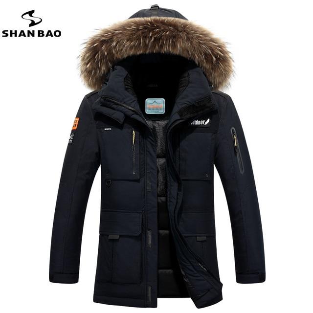 SHAN BAO marca 2016 de invierno gruesa capa caliente de Rusia de alta calidad de los hombres del ocio de la chaqueta con capucha de piel de abrigo de menos 40 grados frío