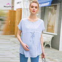 High Quality Maternity Clothing Tops Short Sleeves Tees Waist Adjustable Maternity Tops Pregnancy Tees Striped Pregnancy Clothes