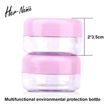 Travel Empty Sample Plastic Cosmetic Refillable Bottle Makeup Face Cream Jar Eyeshadow Nail Art Bead Container Round Transparent