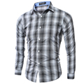 Men Shirt Luxury Brand 2016 Male Long Sleeve Shirts Casual Mens Classic Plaid Pocket Slim Fit Dress Shirts Mens Hawaiian 2XL MFH