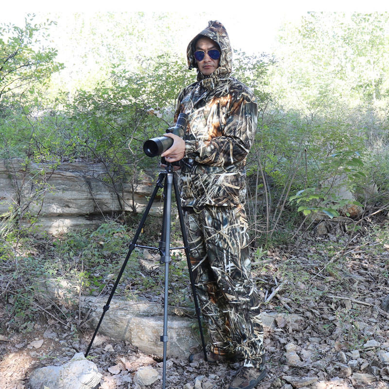 Autumn waterproof bird watching fishing hunting clothing reed hay bionic camouflage Ghillie Suits jacket and pants