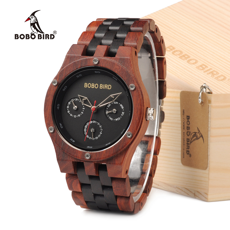 BOBO BIRD EN18 Handmade Analog Men Wooden Quartz Watch Round Dial Unique Combination Ebony And Red Sandalwood Customzied bobo bird brand new sun glasses men square wood oversized zebra wood sunglasses women with wooden box oculos 2017