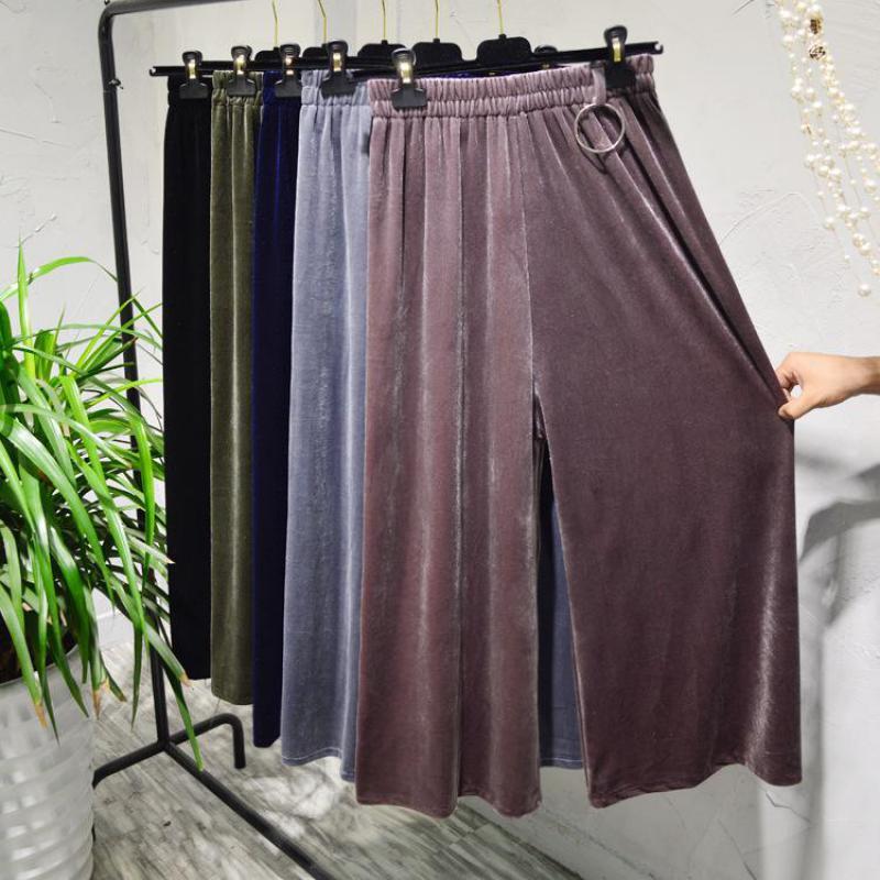 2019 Spring New Korean Version Of High Waist Loose   Wide     Leg     Pants   Solid Gold Velvet Pleated Slacks For Women Free Shipping