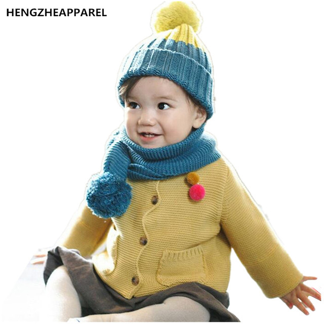 34328d3c45a new knit double color kids collars +hat set winter warm baby hats with wool  ball boys girls caps beanies children headwear scarf