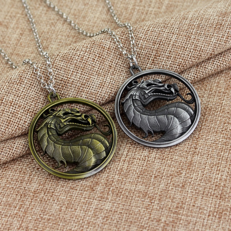 Classic Fighting Games Mortal Kombat Necklace Dragon Jane Empire Vintage Pendant Movie Jewelry For Men and Women ...