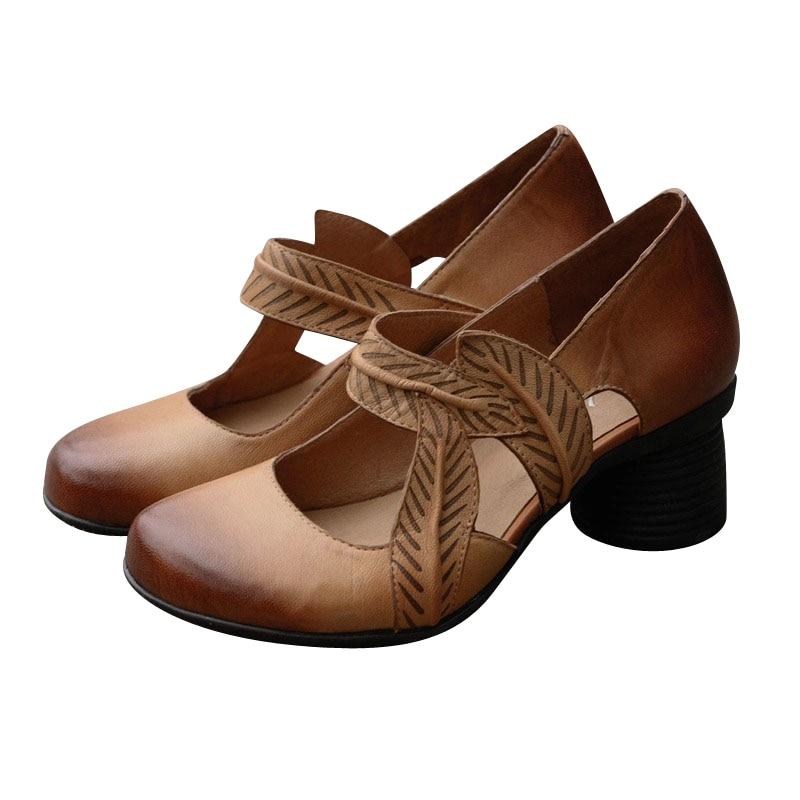 Tacones Alta Las Apricot Mujeres Xiangban Boca Cuero 2019 Genuino Elegante Baja Zapatos Bombas Primavera De pUpwv1zqY
