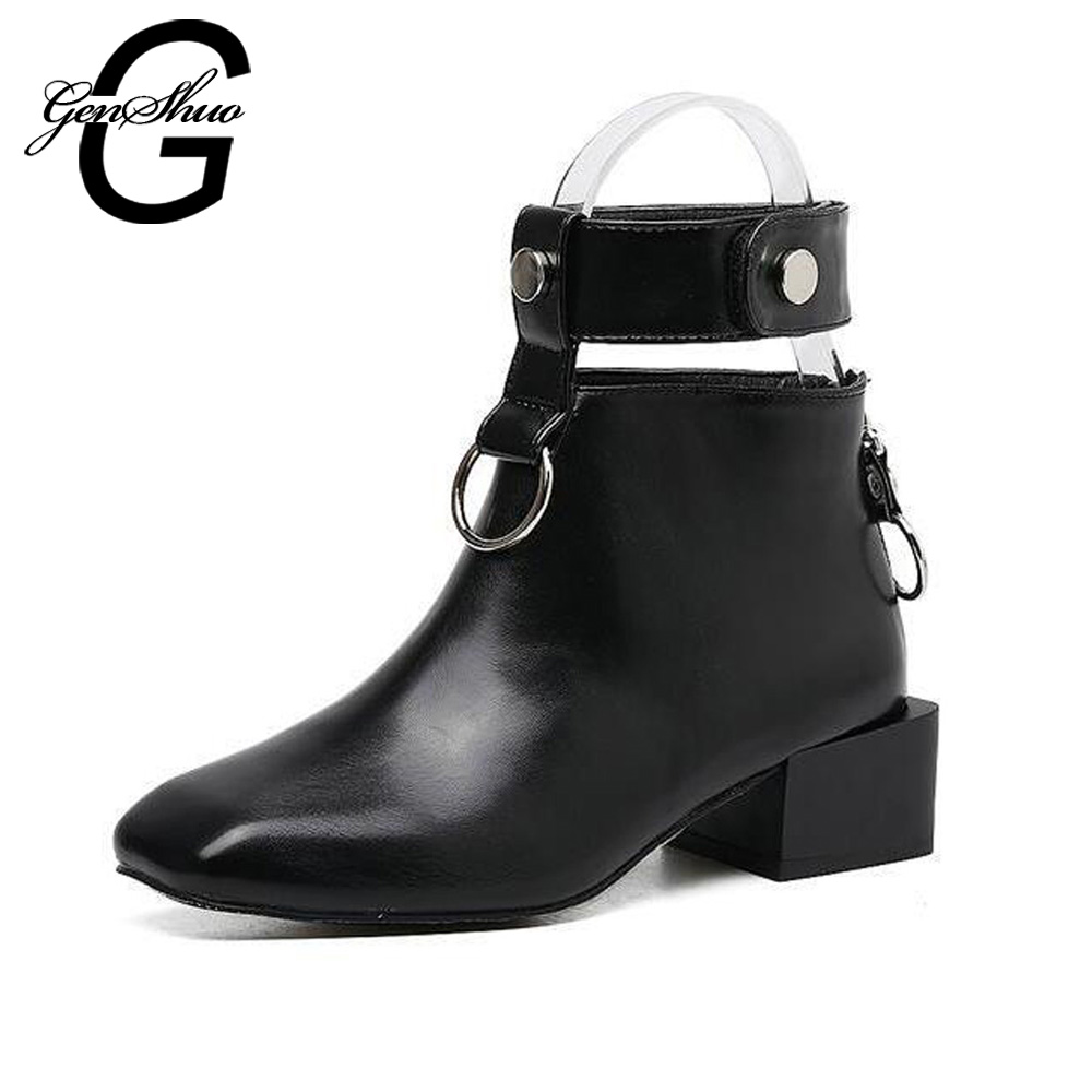 GENSHUO Fashion Square Toe Zipper PU Leather Solid Black Women Ankle Boots Thick Heel Brand Women Shoes Causal Motorcycles Boots fashion square toe lace up genuine leather solid nude women ankle boots thick heel brand women shoes causal motorcycles boot l74