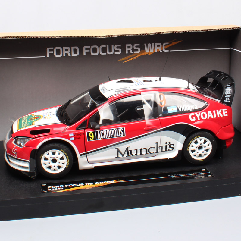 1:18 Scale large sunstar Ford RS WRC 2008 driver No.9 F.Villagra Rally Acropol Diecasts & Toy Vehicles model race car toy