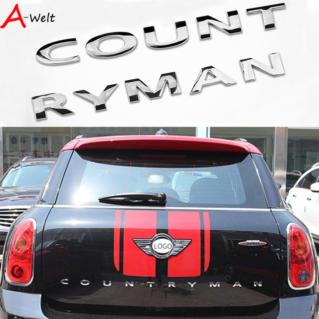 3 dmetal stickers achter voor bmw mini cooper accessoires mini cooper r56 r60 mini countryman. Black Bedroom Furniture Sets. Home Design Ideas