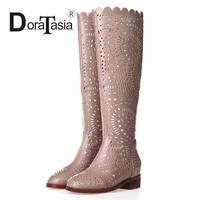 Fashion Women Summer Boots High Quality Microfiber Uppers Shoes Brand Design Chunky Heels Spring Fall Riding