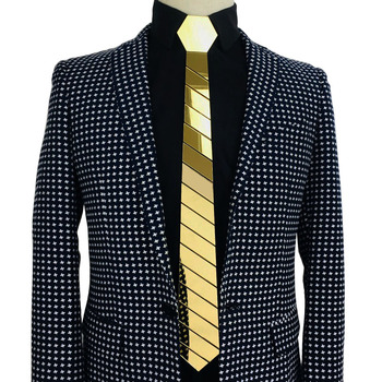 NUOVO ARRIVO In Acrilico Oro Specchio Tie Modello Geometrico Fatti A Mano di Modo Cravatte Sottili Cravatte