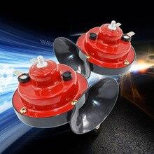 цена на DJSona 2Pcs 12V Snail Air Horn Marine Boat Loud Alarm Kit Red for Car Boat Motorcycle Van car horn Hot Sale