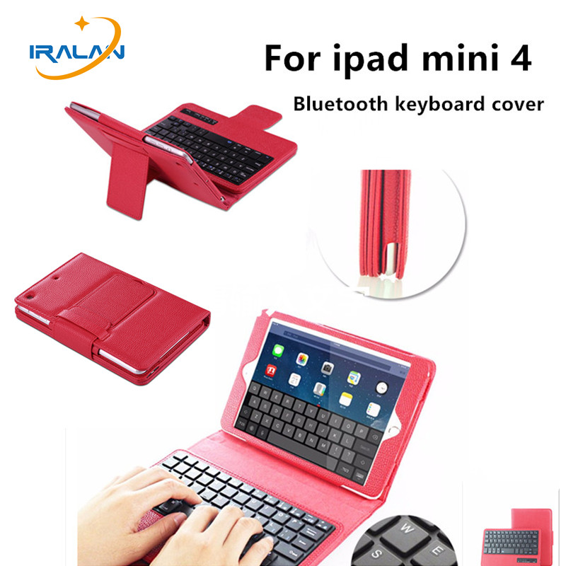 2017 New wireless Bluetooth Keyboard PU Leather Cover Protective Magnetically Detachable Case For iPad Mini 4 7.9 inch + Film case cover for goclever quantum 1010 lite 10 1 inch universal pu leather for new ipad 9 7 2017 cases center film pen kf492a