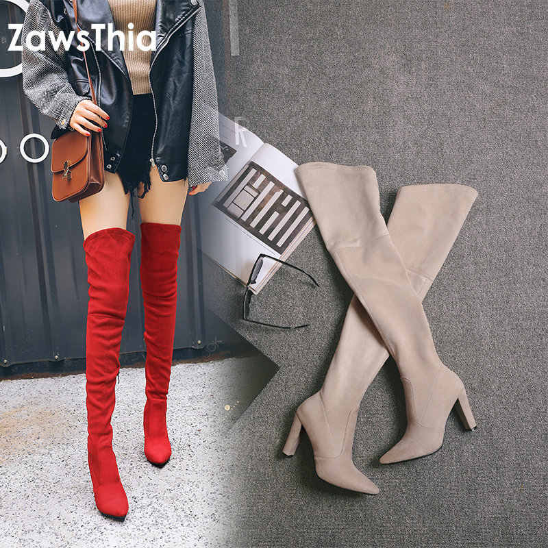 ZawsThia 2019 winter autumn stretch elastic thigh boots high heels shoes for woman over the knee high boots women overknee boots