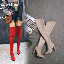 ZawsThia 2019 winter autumn stretch elastic thigh boots high heels shoes for wom