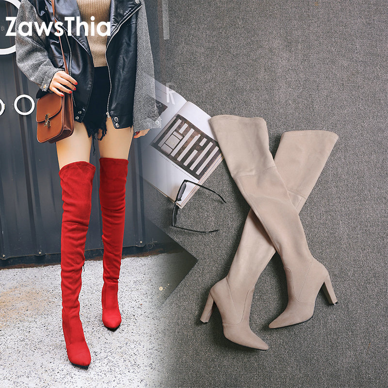 ZawsThia 2020 winter autumn stretch elastic thigh boots high heels shoes for woman over the knee high boots women overknee boots
