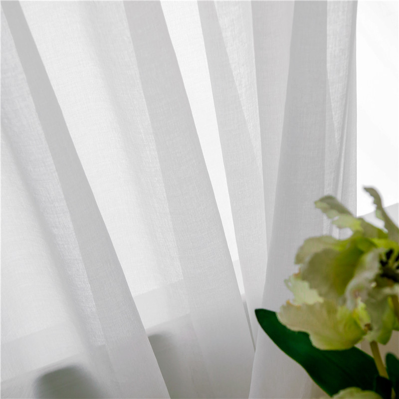 CITYINCITY Japan style Soft White Voile Laxu Linen Light Fabric  Sheer  For Kitchen And Livingroom Window Curtains Customized
