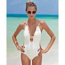 2019 New Women Bohemia Style One-piece Strap Swimwear Siamese Sexy V-neck Swimsuit Backless Bodysuit