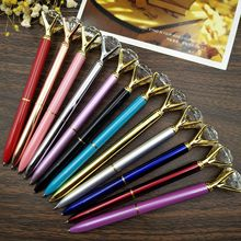 2019 Metal Box ball point pen carat diamond ring crystal feather for woman wedding Office school supplies gift roller ballpoint