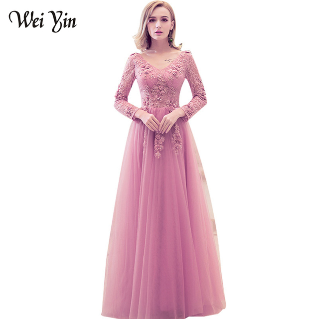 WeiYin Evening Dress Sweet Pink  Red Gray Lace Embroidery V-neck Long  Sleeved Prom Dress The Bride Banquet Elegant Party Gown 7c0e0cd37edc