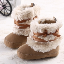 New Wool Winter Boots Fashion Soft Bottom Baby Moccasin Baby First Walkers Baby Warm Boots Non-slip Boots for Baby Girls