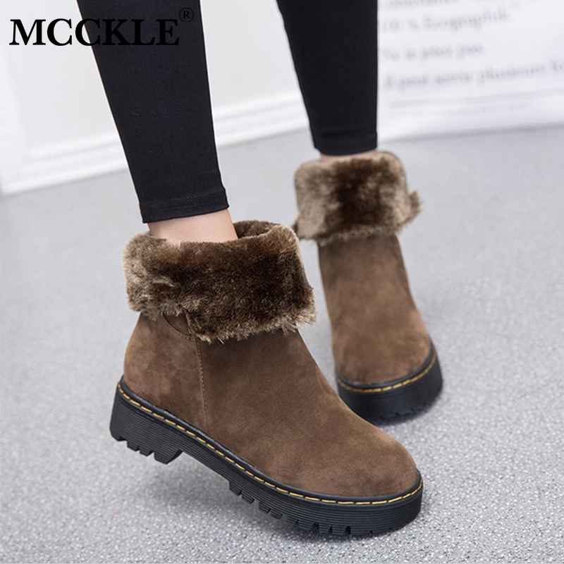 Detail Feedback Questions about MCCKLE Women Winter Fur Warm Mid Calf Boots  Casual Platform Female Suede Slip On Sewing Height Increasing Two Ways Wear  ... 06246c95c530
