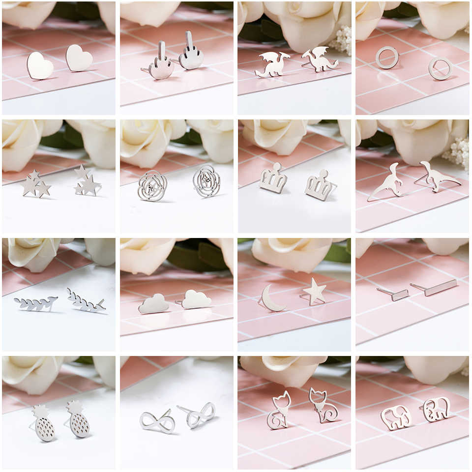 Women Trendy Korean Cute Stud Earrings For Girls Silver Stainless Steel Animal Heart Leaf Cat Earrings Cheapest Price Wholesale