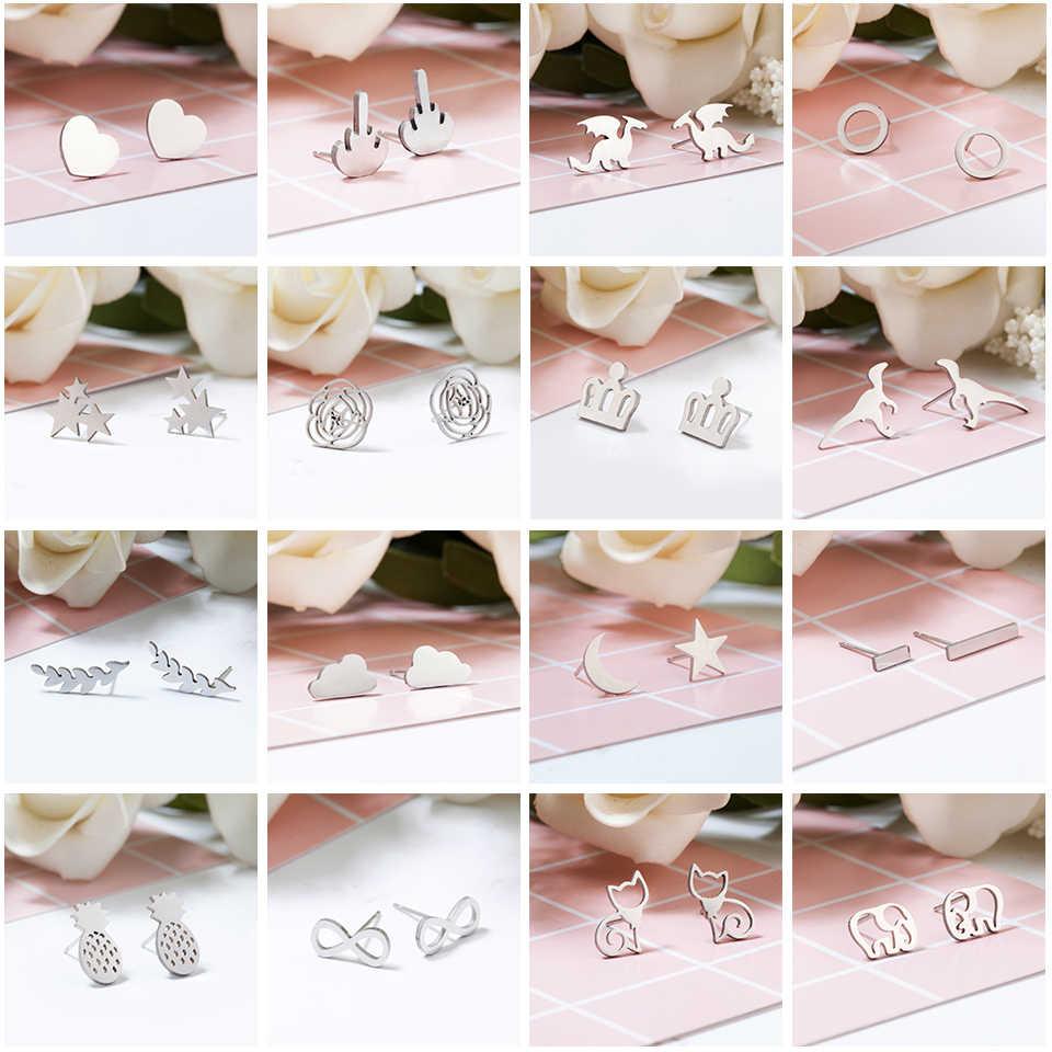 Серебряные серьги-гвоздики из нержавеющей стали в форме животных, листьев сердца, кота, цветка, звезды для женщин, девушек, минималистичные ювелирные аксессуары, подарки