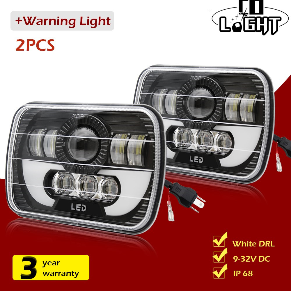 CO LIGHT 7x6 5x7 LED Headlight DRL Sealed Beam for Jeep Cherokee XJ Truck Toyota Pickup Hi /Lo Led Rectangle Headlamp 12V 24V 7inch for jeep led headlight 5x7 headlight type led driving light 24v car led headlights 7x6 led headlamp light 5 7inch h4 h l