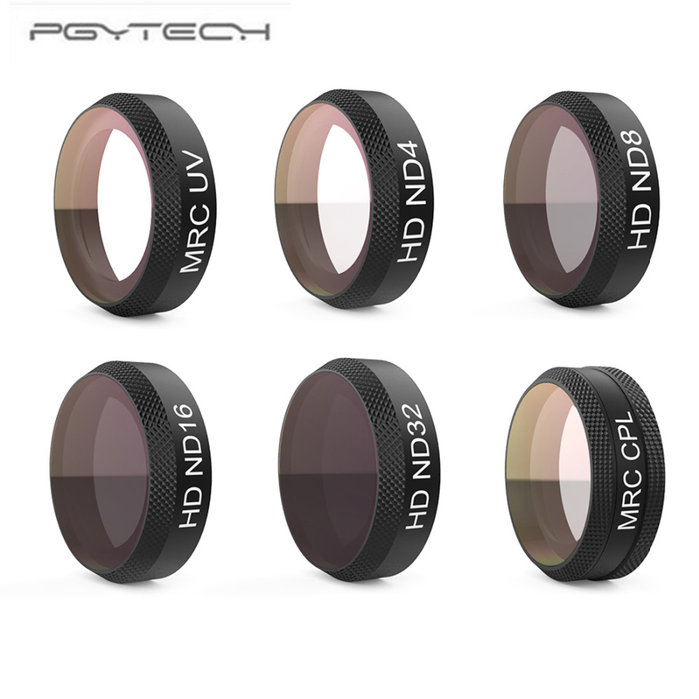 PGYTECH Filter 6Pcs UV+ND4+ND8+ND16+ND32+CPL Filter Kit Lens Filters for DJI Mavic Air RC Quadcopter Drone Accessories pgytech lens 5 pcs filters for dji mavic pro drone g uv nd4 8 16 32 cpl hd filter accessories gimbal lens filter quadcopter