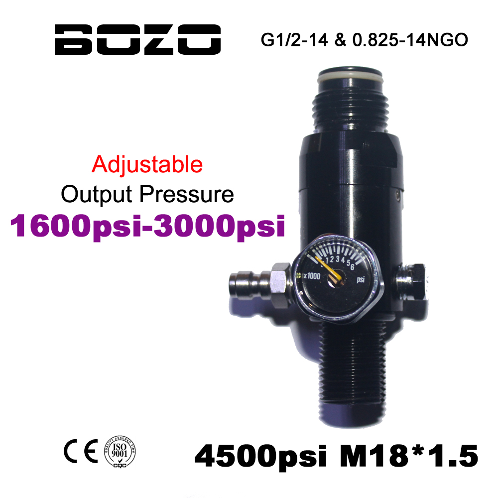 Paintball Airsoft PCP CO2 4500PSI Air Compressed Air Cylinder Tank Regulator Output Pressure Adjustable 1600-3000psi M18*1.5