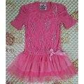 Varejo frete grátis 2 - 5 T menina Beautees marca rosa e azul algodão cor vestido do verão