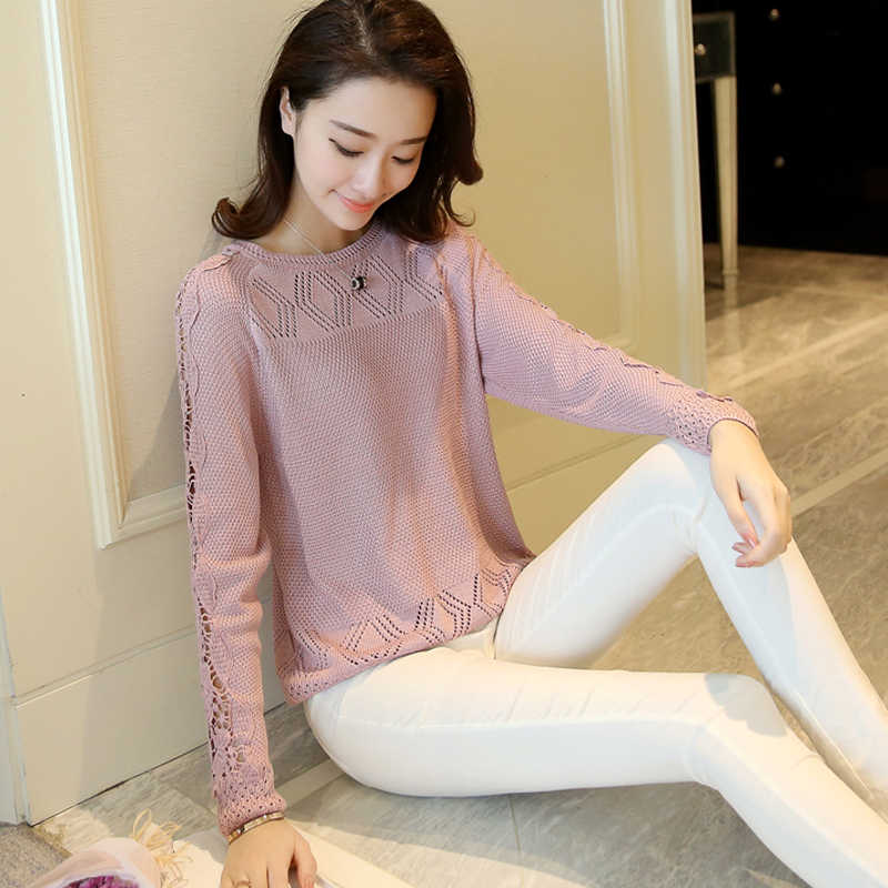 Openwork knit sweater long sleeve solid color lace round neck sweater hedging 2018 Spring and Autumn new women's thin bottoming