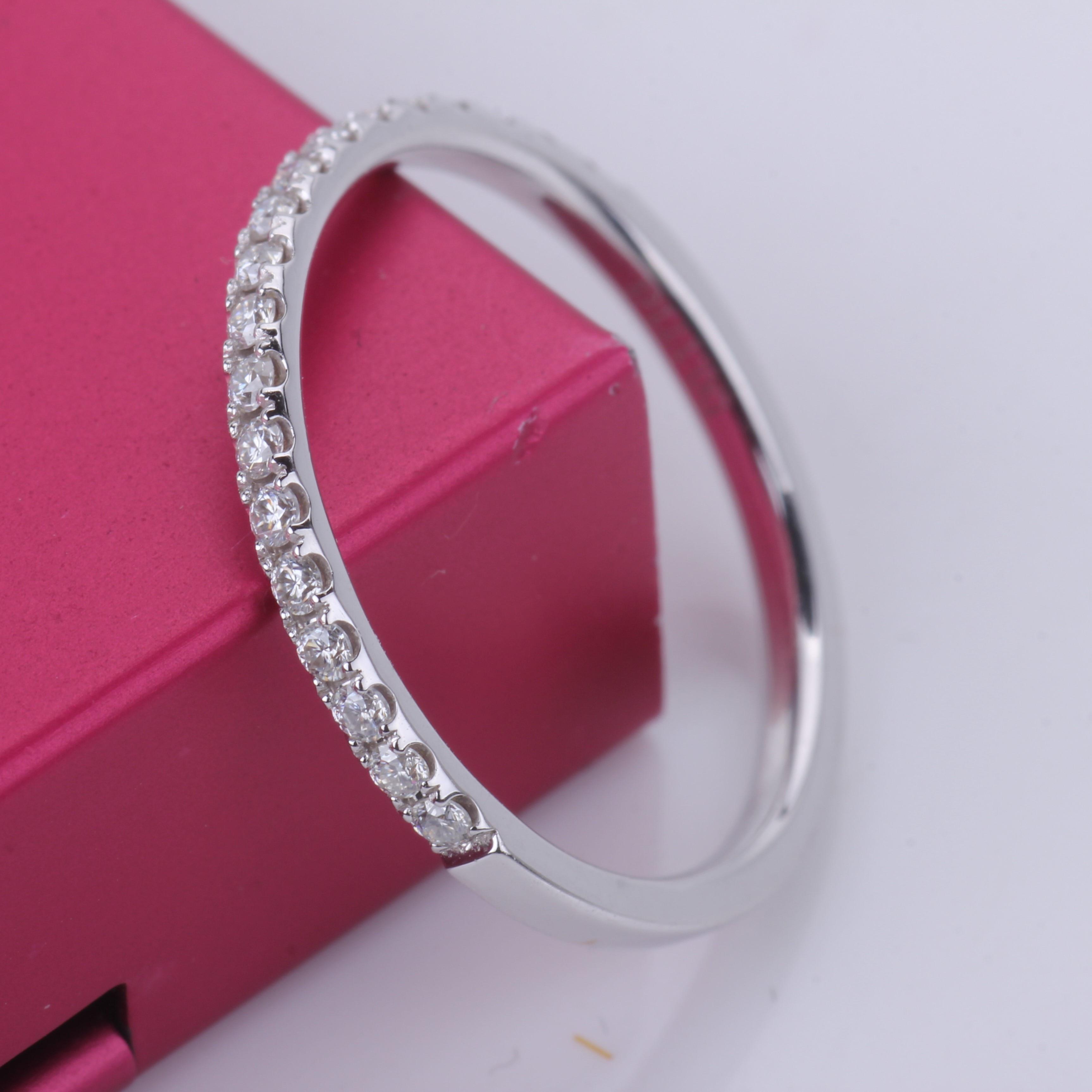 Женское Обручальное кольцо с бриллиантом moissanite, белое золото 14 к, обручальное кольцо средней длины, однорядное кольцо