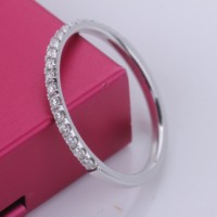 Genuine 14K White gold moissanite diamond Wedding Band Band Knuckle Midi Ring couple ring women single row drill ring