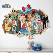 Cartoon One Piece Luffy Wall Sticker For Kids Rooms Children Room Decor Wall Decal Mural 3D Through Wall Home Decor Poster