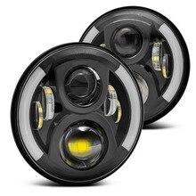 Yait 7 ''круглые H4 светодиодные фары 6000K 7 дюймов светодиодные фары 50 Вт для Лада Нива Toyota UAZ 4x4 для Toyota FJ Cruiser