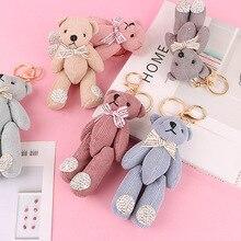 Pompom Teddy Plush Doll Keychain for kid Small Bow Tie Bear Toy Pendant Keyring Women Bag Car Key Chain Trinket Valentine Gift цена