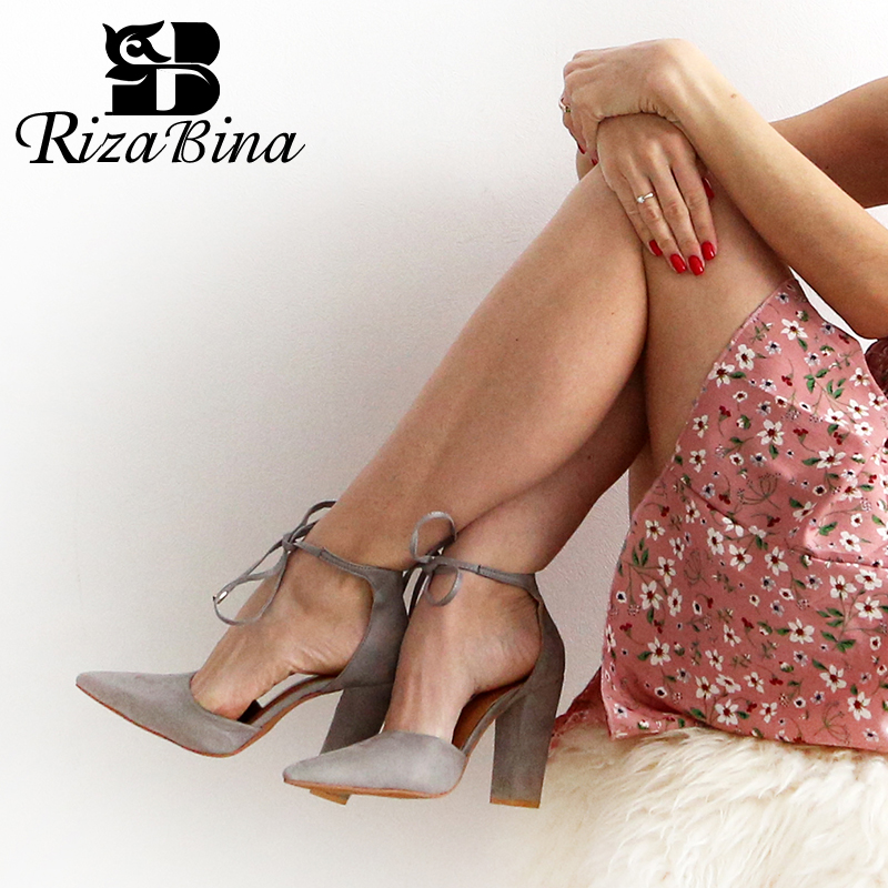 RIZABINA Women High Heel Sandals Fashion Lace Up Summer Shoes Women Party Wedding Shoes Office Lady Footwear Size 34-43