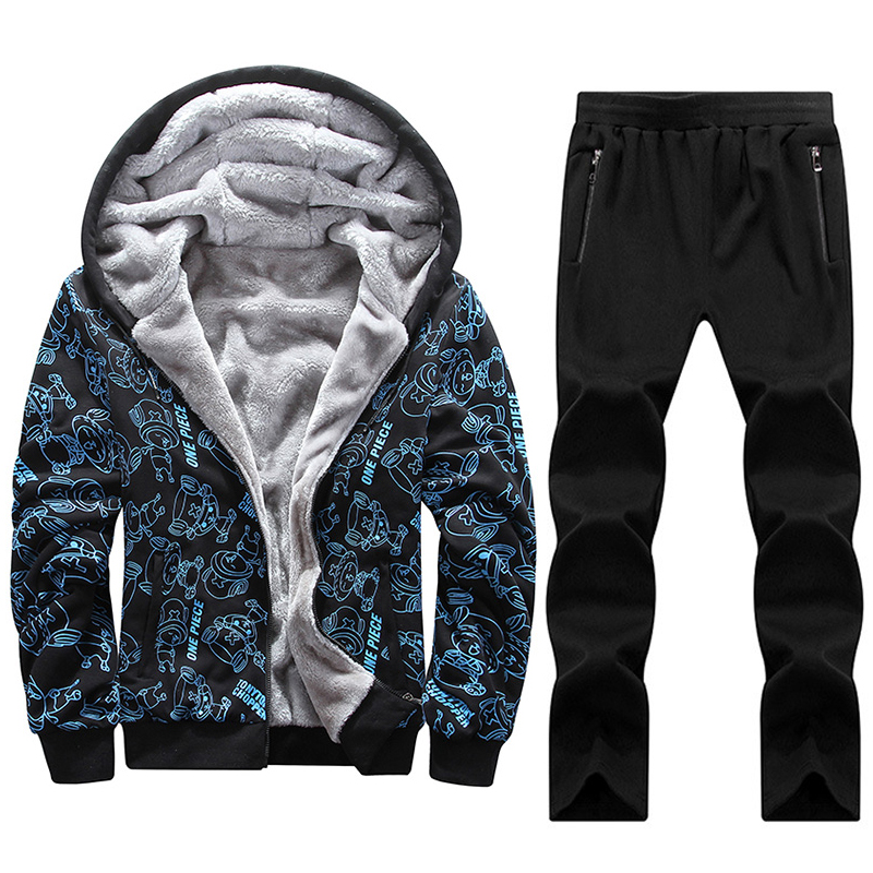 125kg Can Wear Big Size 7XL 8XL Men Hoodies Sets Sport Suits Warm Gym Tracksuit Man Sportswear Cartoon Pattern Run Jogging Suit men sport suit autumn winter big size 6xl 7xl 8xl warm knitted tracksuits printing design male fitness jogging running sets