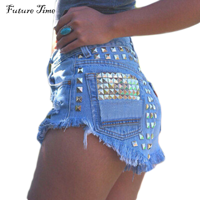 2016 Women's Fashion Vintage Tassel Ripped Loose High Waisted Short Jeans Punk Sexy Hot Woman Denim Shorts free shipping C0471