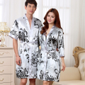 Women Floral Silk Satin Robe Nightgown Set Or Men Half Sleeve Robe Casual Bathrobe Fashion Sleepwear Nightwear