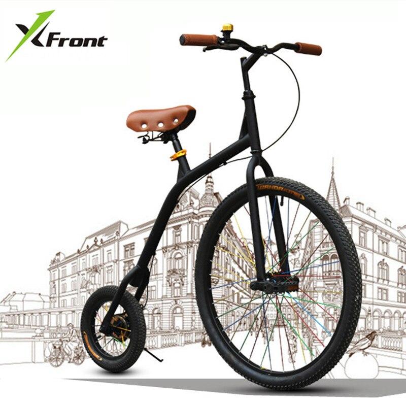 Nuovo di zecca Città Retro In Acciaio Al Carbonio Grande e Piccola Ruota Della Bici Della Bicicletta Ciclismo Bicicleta Blu/Verde/Bianco/nero Bicicletta