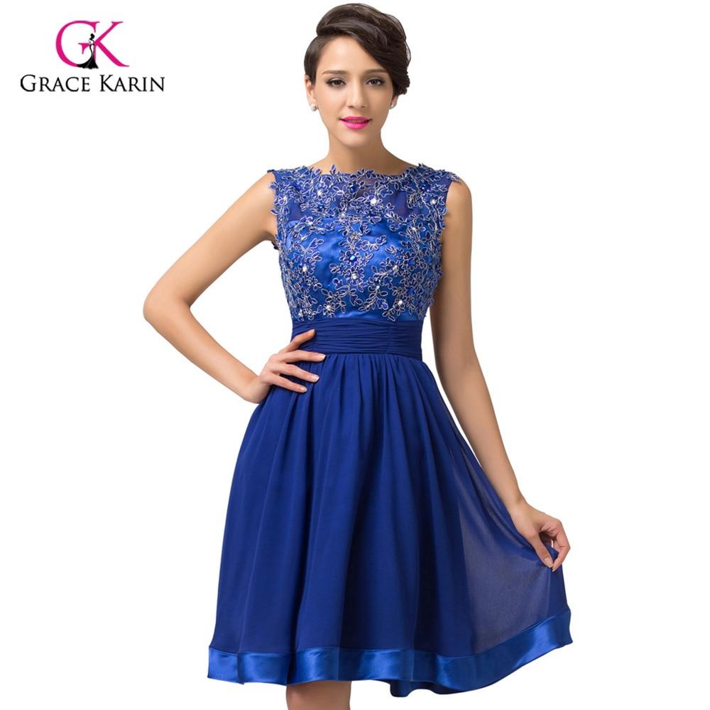 ▽2018 Prom Dress Grace Karin Backless Lace Short Royal Blue Chiffon ...