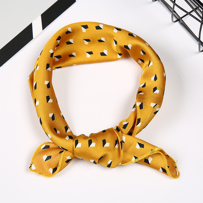 Elegant Women Vintage Yellow Square Silk Head Neck Feel Satin Scarf Skinny Retro Hair Tie Band Small Fashion Accessories