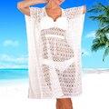 Presente de ano novo Da Praia do Verão 2017 Túnica Senhora longa Branca Sexy maiô praia xale Chiffon pano Mulheres kaftans Praia vestidos