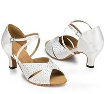 New Women White Satin Rhinestone Salsa Ballroom Tango Dance Shoes Latin Dance Dancing Shoes ALL Size